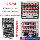 19 GPU Mining Rig Aluminum Stackable Case Open Air Miner Frame 4 PSU + 18 Fans