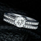 2pcs/set  Fashion Womens Silver Plated Finger Rings Party Wedding  Jewelry Uk