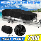 17-20Ft 21-24Ft Heavy Duty 210D Waterproof Pontoon Boat Cover Fish Ski Beam 96'' image