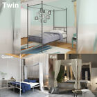 Modern 4 Post Metal Canopy Bed Frame Platform W/ Headboard Twin Full Queen Size image