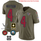 NEW DeShaun Watson Houston Texans Mens Olive Salute to Service Military Jersey