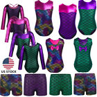 US Kids Girls Ballet Gymnastics Dance Leotard Mermaid Bodysuit Dancewear Costume