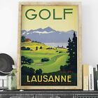 Switzerland Lausanne Golf retro poster print - various sizes, framed/unframed...