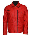 New Men's Elvis Presley The King Of Rock Shirt Collar Cotton Red Jacket