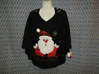 Size S or M NWT Christmas Santa In Chimney With Bag of Present Ugly Poncho Cape