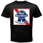 Pabst Blue Ribbon Beer Premium Alcohol American Brewing Black T-shirt Size S-5XL image