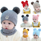 Toddler Kids Girl&Boy Infant Winter Warm Crochet Knit Hat Beanie Cap With Scarf