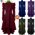 Ladies Steampunk Victorian Gothic Coat Jacket Medieval Vintage Womens Long Dress