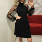 Women's Pearl Beading Mesh Sleeve Dress Long Sleeve A-Line Party Mini Dress CA