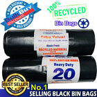HEAVY DUTY BLACK REFUSE STRONG SACKS THICK RUBBISH BAGS BIN LINERS UK MADE