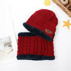 2pcs Kids Winter Knitted Caps + scarf Skullies Bonnet Beanies Fur Wool Knit Hat