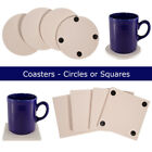 Craft County Ceramic Coasters - Square & Circle Shapes - Packs of 4 image