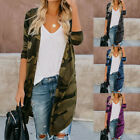 Fashion Womens Ladies Long Cardigan Camouflage Long Sleeve Casual Coat Outerwear
