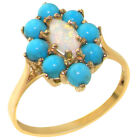 Solid 18ct Yellow Gold Natural Opal & Turquoise Womens Cluster Ring