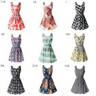 Summer Beach Chiffon Sleeveless Mini Dress OL Floral Pleated Tank Sundress Women