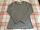 J Crew Stretch Cotton Long Sleeve Striped Tee Top Small S
