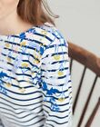 Joules Womens Harbour Printed Jersey Top Shirt - NAVY FLORAL BORDER