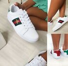 WOMENS LADIES FLAT WHITE DESIGNER BEE CASUAL LACE UP SUMMER TRAINERS SHOES SIZE