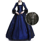 Womens Casual Vintage Dress Medieval Victorian Long Sleeve A-line Maxi Dresses