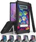 Rugged Case Cover Stand + Wrist Strap for Samsung Galaxy S10 - Adorable Animals