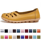 Women Genuine Leather Slip on Loafers Moccasin Flats Boat Oxfords Walking Shoes