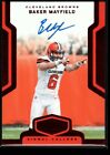 BAKER MAYFIELD 3/3 BROWNS QB RED ROOKIE ON CARD AUTO RC SP 2018 PLATES & PATCHES
