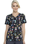 Star Wars Cherokee Scrubs Tooniforms Disney V Neck Knit Panel Top TF625 SRRL $24.49 USD on eBay
