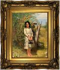 Brown Blackberry Picking 1875 Wood Framed Canvas Print Repro 11x14