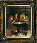 Brown Tough Customers 1881 Wood Framed Canvas Print Repro 8x10