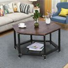 Coffee Table Storage Rack Hex Modern Wood Furniture Living Room Accent Stand USA