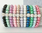 Elastic Glass Pearl Beaded Bracelets 8mm 23 Colors With Crystal Shamballa Bead