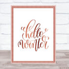 Christmas Hello Winter Quote Print Poster Rose Gold Wall Art
