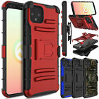 For Google Pixel 4/4 XL Case Shockproof Heavy Duty Belt Armor Clip Cover W/Stand