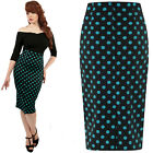 COLLECTIF BLACK & TEAL WIGGLE PENCIL SKIRT VINTAGE  ALTERNATIVE SIZE 8