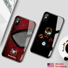 LED light Ironman Spiderman Marvel iPhone glass case iPhone 11 XR XS MAX 8P