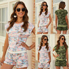 Chouyatou Women Summer New Suit Slim Camouflage T-shirt Shorts Short Sleeve Tops
