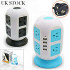 3M 8Way Extension Lead Cable Surge Protected Tower Power Socket with 4 USB Port