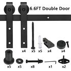 2/3/4/5/6.6FT Aluminum Sliding Barn Wood Door Hardware Kit Track Roller Cabinet