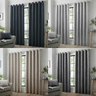 Curtina Kendal Damask Geometric Textured Eyelet Lined Curtains