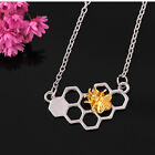 Fashion Honeycomb Honeybee Bee Silver Gold Necklace Pendant Chain Jewelry Cf