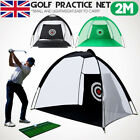 2M Foldable Golf Driving Cage Practice Hitting Net Home Garden Trainer Green UK