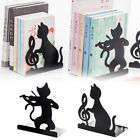 1 Pair Cat Bookend Free Standing Iron Decorative Catalogs Home Office Non-skid