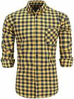 Emiqude Men's 100% Cotton Slim Fit Long Sleeve Button Down Flannel Plaid Dress S