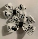 Lot 2 Music Notes black  white Dainty Pigtail Hair Bows Set Baby Toddler