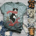 Women Short Sleeve 3D Animal Cat Printed O-Neck Tops Tees Ladies T-Shirt Blouse