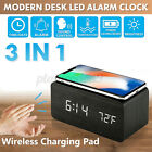 LED Digital Alarm Clock Modern Voice Control Qi Wireless Charger Thermometer US