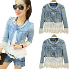 Womens Ladies Faded Ripped Lace Pearl Denim Jacket Slim Fit Jeans Coat Outwear