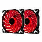 2 Pack 120mm 15 LED PC CPU Computer Case Cooling Neon Quite Clear Fan Mod cooler
