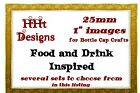 "Bottle Cap Images 1"" (25mm) Precut or Stickers ~ Food & Drink Theme ~ USA seller"
