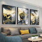 Golden Black White Abstract Painting Canvas Wall Art Poster Modern Home Decor